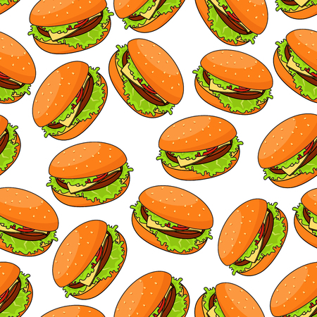 patty: Seamless pattern of cheeseburgers served with fresh crunchy lettuce and juicy beef patty, swiss cheese and sliced tomato on wheat bun randomly scattered over white background. Fast food or kitchen interior themes design