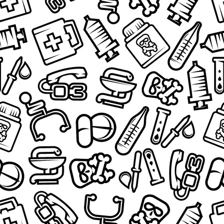 snake and a bowl: Medicine seamless pattern with outline silhouettes of pills and capsules, stethoscopes and blood test tubes, syringes and thermometers, first aid kits and pipettes, poison bottles with skull and crossbones, symbols of pharmacy with bowl and snake Illustration