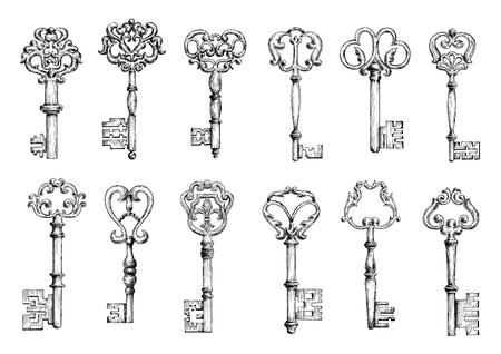 장식 요소와 위조 꽃 모티브로 장식 된 중세 문 키의 빈티지 스케치. 장식, 꾸밈, 보안 또는 안전 테마 디자인