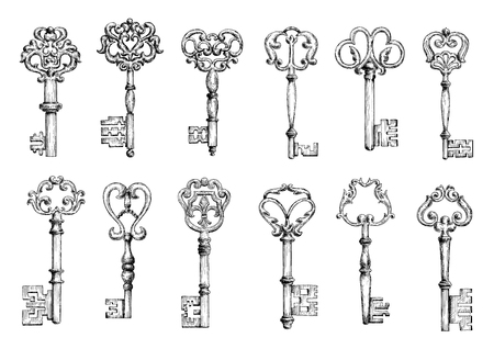 Vintage sketches of medieval door keys adorned by forged floral motifs with decorative elements. Decoration, embellishment, security or safety theme design Vettoriali