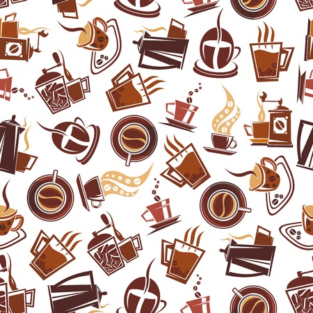 mills: Brown coffee seamless pattern of cups of fresh brewed coffee, retro mills and pots, adorned by coffee beans. Use in coffee shop or cafe menu design or for background design Illustration