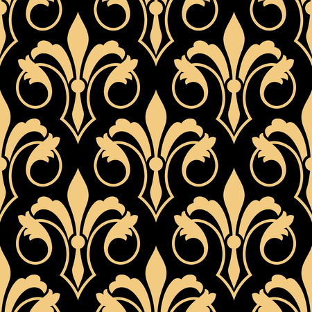 lys: Seamless golden heraldic floral pattern with stylized retro fleur-de-lis ornament on black background. Luxury royal pattern for interior or textile, wallpaper or scrapbook page design Illustration