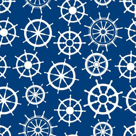 helm boat: nave náutica timones patrón transparente con siluetas blancas de volantes en barco con engranajes decorativos y maneja sobre fondo azul. Marina tema, o temas de diseño inter textiles Vectores