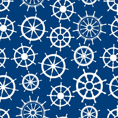 Nautical ship helms seamless pattern with white silhouettes of boat steering wheels with decorative spokes and handles over blue background. Marine theme, interior or textile design themes Illustration