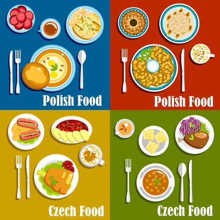 Beliebte Gerichte der polnischen und tschechischen Küche mit dicken Suppen und Kartoffelpuffer, gebackene Eisbein, Fisch und Ente, eingelegte Würstchen und vegetarische Knödel, Lebkuchen, Krapfen und Kuchen Trdelnik Standard-Bild - 54672006