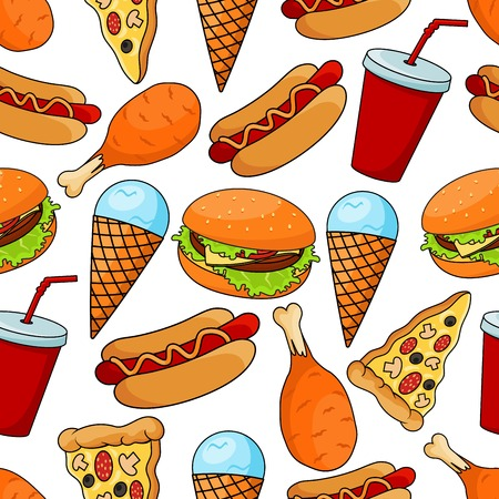 pepperoni pizza: Seamless pattern of assorted tasty fast food with cheeseburger and thin slices of pepperoni pizza, hot dogs and fried chicken legs, mint ice cream cones and red paper cups of sweet soda on white background Illustration