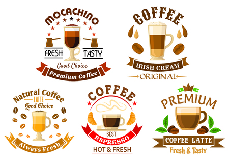 stars and symbols: Premium natural espresso coffee, mochaccino, latte and irish cream coffee symbols for coffee shop or coffee house design, framed by ribbon banner, coffee beans and leaves, pots, croissants, stars and crown