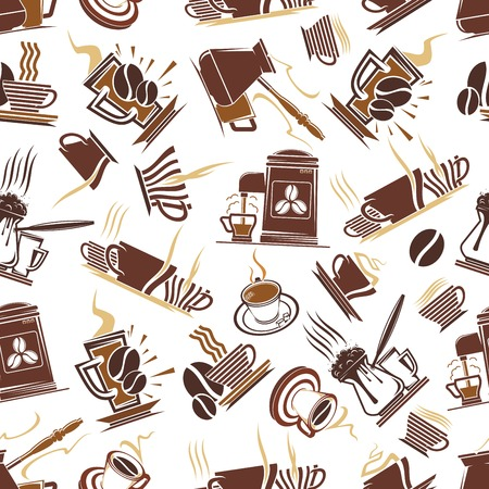 turkish dessert: Coffee shop seamless brown pattern of trays with steaming cups of hot chocolate and tall glass mugs with cappuccino, retro coffee machines and pots with turkish coffee. Cafe or kitchen interior themes design