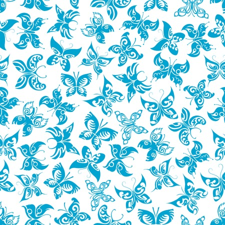 antennae: Blue butterflies seamless pattern of flying fragile insects with ornamental wings and curly antennae on white background. Nature background, fabric print or wallpaper themes design