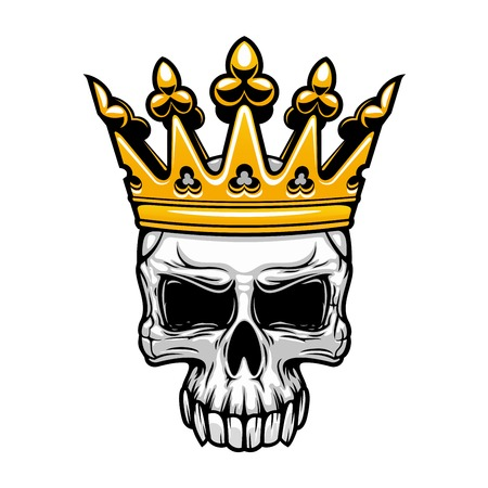 Crowned king skull symbol of spooky human cranium with royal gold crown. For tattoo, t-shirt print or Halloween design usage Vettoriali