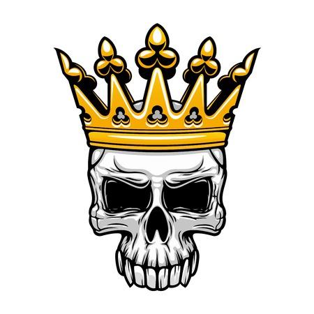 Símbolo de la calavera coronada rey de cráneo humano espeluznante con la corona real de oro. Para el tatuaje, camiseta de la impresión o el uso del diseño de Halloween Ilustración de vector