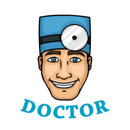 scrub: Charming smiling male doctor character with blue medical scrub hat and frontal reflector. Isolated colorful portrait with caption Doctor for medical stuff profession concept design