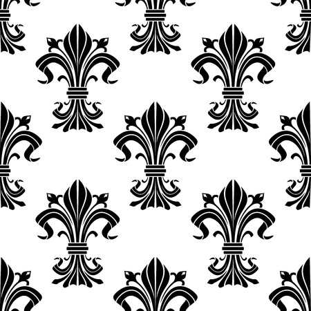 Black and white fleur-de-lis ornament with seamless pattern of elegant iris buds and curved leaves gathered and tied in bunches. For heraldic theme, fabric or interior design Stock Vector - 54672021