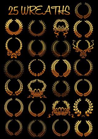 紋章の要素から成る黄金枝光る黄金月桂樹の花輪は、ツイスト リボンおよび弓と結ばれます。紋章、紋章付き外衣、スポーツ功労賞、記念日、証明