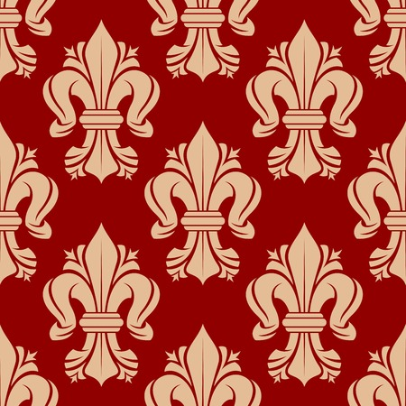 monarchy: French heraldic lilies seamless pattern with bold ornament of beige fleur-de-lis symbols on red background. Vintage interior accessories, royal theme background or fabric design