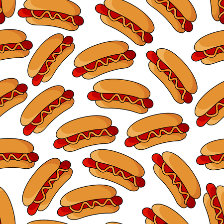 Hot dogs seamless pattern background for fast food cafe menu design or street food snacks theme