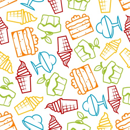 soft serve ice cream: Cupcakes and ice cream seamless pattern with outline tasty muffins topped with cherry fruits, chocolate tiered cakes with cream, soft serve ice cream cones and sundae desserts over white background. Pastry, bakery and dessert themes design