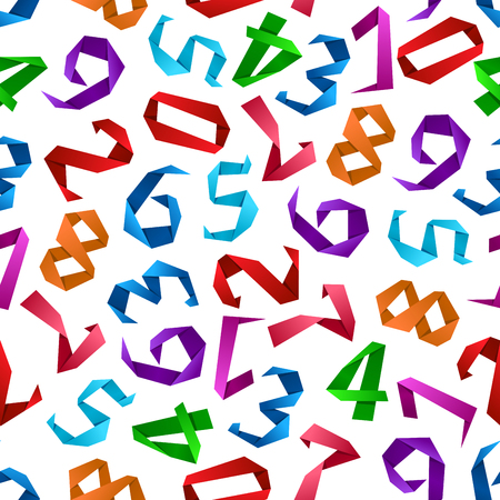 origami numbers: Colorful origami numbers seamless pattern with bright digits made of folded paper. Education and school, mathematics or scrapbook page design