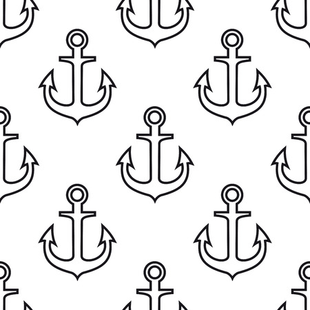 vessels: Black and white marine themed background with seamless pattern of vintage ship anchors