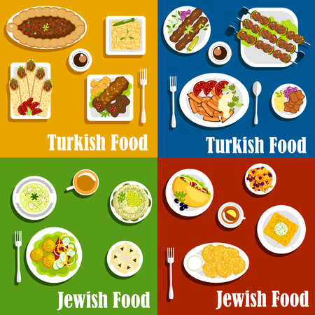 casserole: Kosher jewish and authentic turkish cuisine with kebabs and matzo balls with fresh vegetables garnishing, potato pancakes, shawarma and falafel wraps, pilaf and noodle casserole, meat pie, sweet carrot stew and poppy seeds pastries