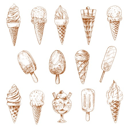 ice cream sundae: Sketches of ice cream cones, chocolate covered ice cream on stick and ice cream sundae desserts topped with fresh berries, caramel sauce and fruit jam, nuts and waffle tubes Illustration