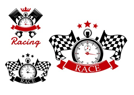motorsport: Motorsport and racing icons design with stopwatches and checkered flags on both sides or crossed pistons on background adorned by stars, crown and ribbon banners