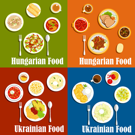 Popular dishes of hungarian and ukrainian cuisine with borscht, beef and bean goulash stew, vegetable dumplings and potato pancakes, goose liver and fish soup, bell pepper salads, cottage cheese fritters and spit cakes