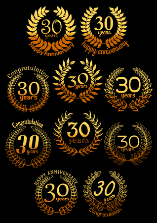 30 years: Anniversary golden wreaths with shining laurel branches, arranged into a circle frame with text 30 Years, congratulations and anniversary. Greeting card, event and invitation, celebration design