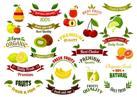 Ripe farm fruits design elements for agriculture and farm market design with ripe apples and pears, oranges and peaches, bananas and lemons, limes and kiwis, cherries, glasses of fresh squeezed juice and ribbon banners with green leaves and stars Illustration