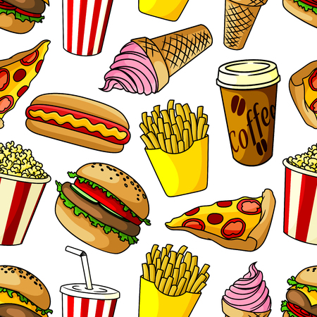 pepperoni pizza: Seamless pattern of fast food with hamburger and pepperoni pizza, hot dog and french fries, coffee paper cup and soda drink, popcorn bucket and strawberry ice cream cone on white background