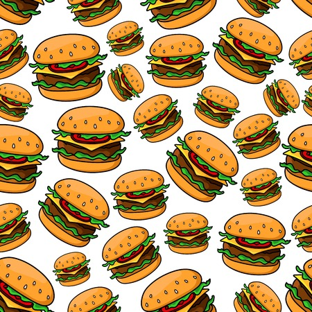 ground beef: Seamless pattern with tasty fast food cheeseburgers on wheat bread rolls, topped with grilled patties of ground beef, tomatoes, lettuce and slices of cheddar cheese. Fast food theme