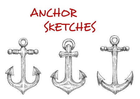 old  fashioned: Old fashioned nautical anchors with decorative stock rods. Sketch style. Navy heraldic symbol, marine and adventure themes Illustration