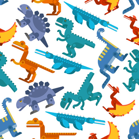 jurassic: Seamless background with colorful pattern of jurassic reptiles and flying lizards. For child books, history or interior design Illustration