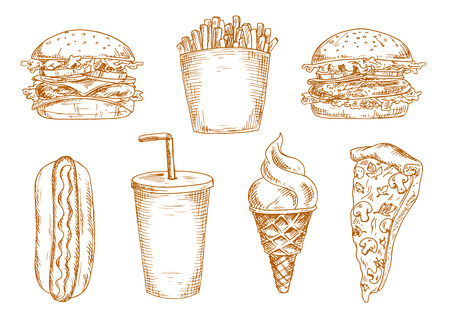 grilled vegetables: Hamburger and cheeseburger with lettuce and fresh vegetables, sweet soda cup and grilled hot dog, italian pizza, french fries and ice cream cone. Use as fast food lunch menu, junk drink and dessert design Illustration