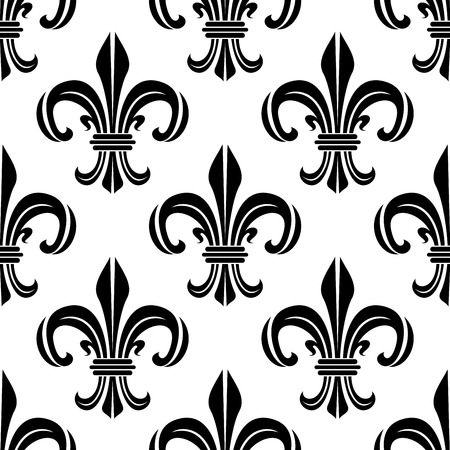 Vintage royal fleur-de-lis black and white seamless pattern of victorian floral composition, adorned by swirls and flourishes. Interior, textile or wallpaper design