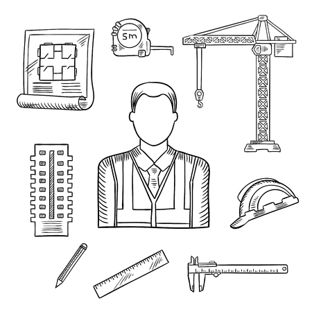 multi storey: Builder or engineer pprofession sketch icons with male builder, encircled by hard hat and measure tape, construction blueprint and multi storey building, ruler and pencil, tower crane and vernier caliper
