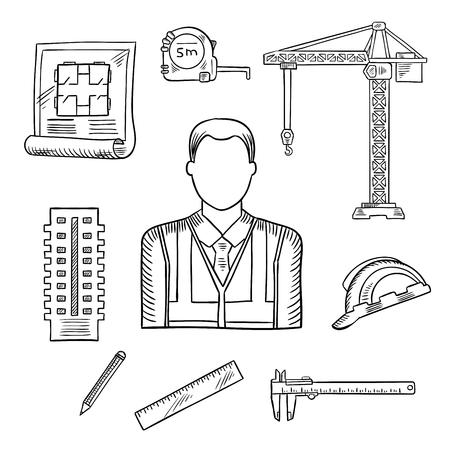 cinta metrica: Constructor o ingeniero pprofession iconos de dibujo con masculino constructor, rodeado por el sombrero duro y cinta métrica, proyecto de construcción y la construcción de varias plantas, una regla y un lápiz, grúa torre y pie de rey