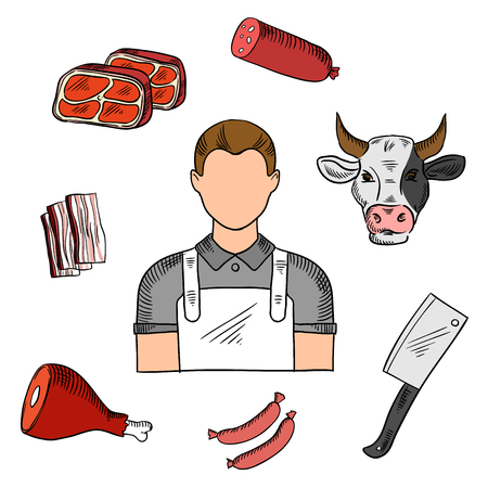 sketched icons: Male butcher with meat products color sketched icons with cpork sausages, bacon and dry cured ham, salami stick and fresh beef steaks, cleaver knife and cow head. Livestock farming or butchery profession themes