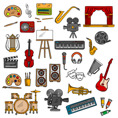 Musical instruments  and microphone, paints and pencils, easel and record player, headphones and loudspeakers, retro movie cameras, film reel and clapperboard, theater scene, tragedy and comedy masks sketches. Music cinema, fine art and theater