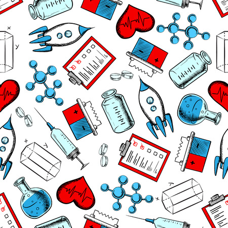 Science, medicine and laboratory research seamless pattern with pills, molecular models, syringes, hearts, laboratory flasks, geometric figures, rockets, batteries and clipboards. Use as background for medicine, chemistry, physics, mathematics, aeronautic