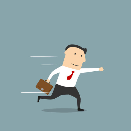 hurry: Smiling businessman with briefcase running in hurry to work or business meeting with one arm extended in front. Time management, way to success or career concept themes Illustration