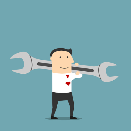 Happy cartoon businessman is carrying a huge wrench on shoulder. Use as crisis management, problem solution or creating new project concept design