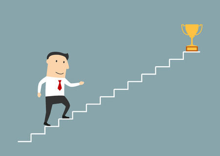 goal achievement: Successful cartoon smiling businessman walking up stairs to golden trophy as symbol of success. Use as stairs to success, goal achievement or leadership theme design