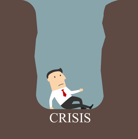 man illustration: Bankruptcy, financial crisis, failure or dept theme design. Frustrated bankrupt cartoon businessman being trapped in a hole or debt pit with caption Crisis below