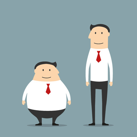 oversize: Cartoon smiling fat and skinny businessmen in suits. May be use as body types comparison or healthy life style concept design