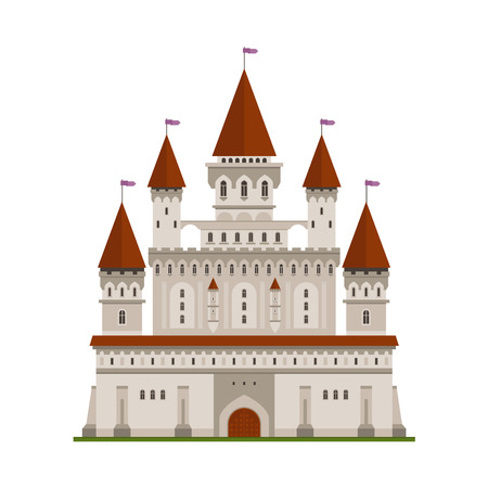 fortification: Medieval ancient castle icon of light gray stone fortified residence of king or lord with high keep, surrounded by watch walls and guardian towers, topped with waving flags. Children book, architecture symbol, mascot design usage