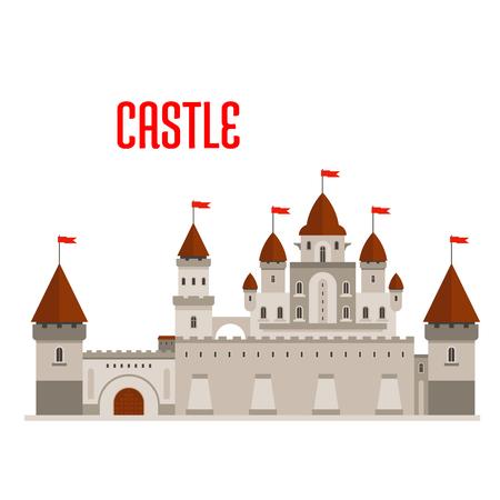 diseño: edificio castillo real de la fantasía con un hermoso palacio en estilo romano con balcones, torres redondas, techos cónicos y banderas, protegido por la caseta de vigilancia, muros cortina y torres en las esquinas. Cuento de hadas, la historia del juego y el tema Vectores