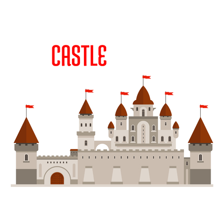 DESIGN: Fantasy royal castle building with beautiful palace in roman style with balconies, round turrets, conical roofs and flags, protected by guardhouse, curtain walls and corner towers. Fairytale, game and history theme