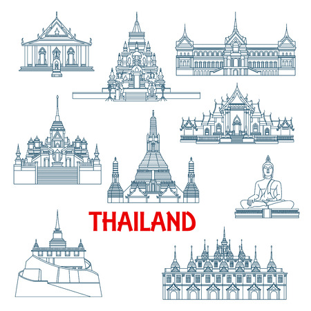 Architecture travel landmarks in thin line style of Thailand with Grant Palace and Big Buddha temple, White and Marble temples, Wat Saket temple and Laem Sor pagoda, Wat Sattahip, temple of dawn and temple of Golden Buddha