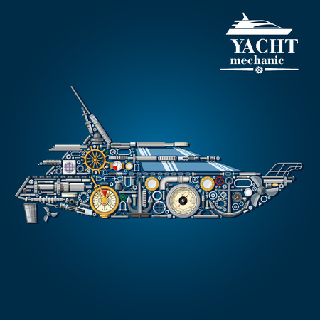 motors: Yacht mechanics scheme with motor boat formed of engine parts and anchor, helm and propeller, rudder and portholes, steering system and engine order telegraph, barometer and handrail, cabin windows and chainplates